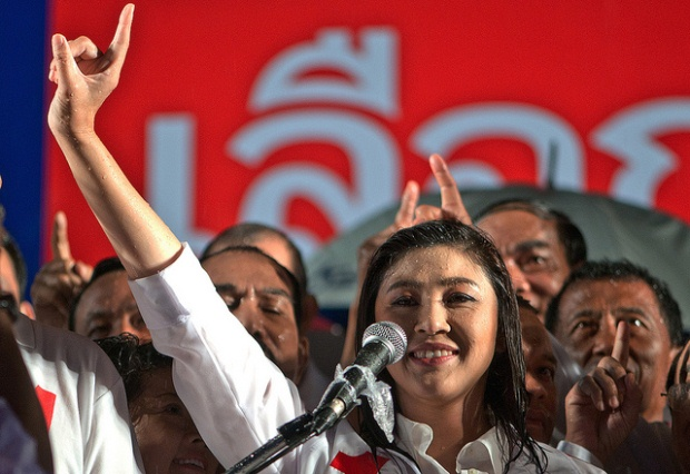 Yingluck Shinawatra, now sworn in as Prime Minister, during Pheu Thai Party's last campaign rally before Thailand's general elections on July 3.