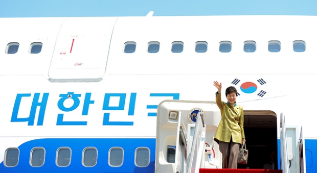 President Park boards her official plane.