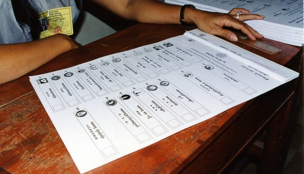 Cambodian national election ballot. Official results for the 2013 election were announced August 12, 2013. Source: Daniel Littlewood's flickr photostream, used under a creative commons license.