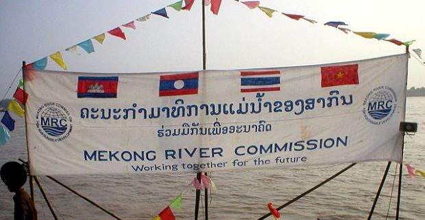 Flags promoting the Mekong River Commission, an intergovernmental agency to promote sustainable, collaborative management of the Mekong River. Source: Wikimedia, used under a creative commons license.