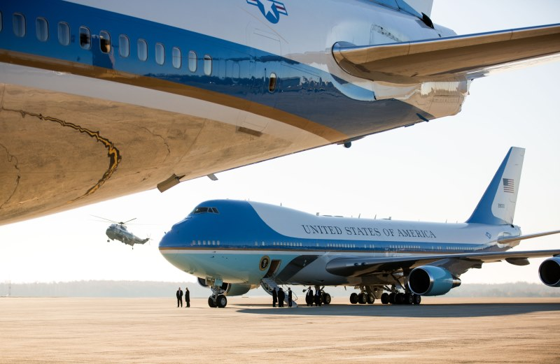 Air Force One and the support plane on the tarmac before President Barack Obama arrives aboard Marine One for departure from Joint Base Andrews, Maryland route to Bangkok, Thailand, Nov. 17, 2012.