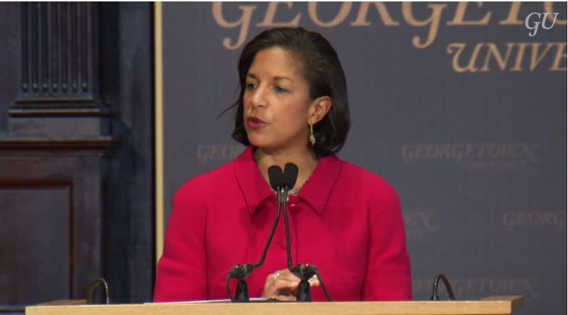 National Security Advisor Susan Rice speaking at Georgetown University. Source: ASPI Screenshot.