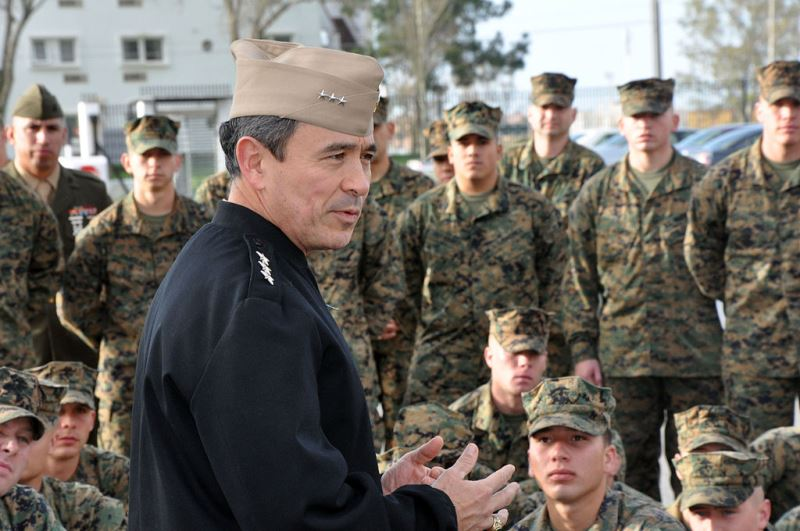 Harry B. Harris, then a three star, addressing a group of Marines based in Europe. Source: Wikimedia, U.S. government work.