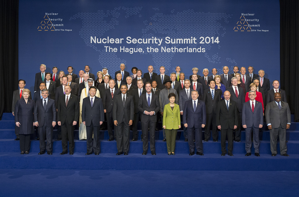 Presidents Obama and Xi stand next to each other during a leaders photo at the Nuclear Security Summit, March 25, 2014. Source: U.S. Embassy The Hague's flickr photostream, U.S. Government Work.
