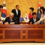 Formal signing of Korea Australia Free Trade Agreement (KAFTA) in Seoul.