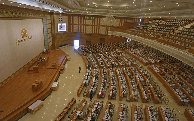 Myanmar's Lower House in session March 2013. Due to their projected representation in the parliament, ethnic groups will likely play a key role in determining the presidency in 2015. Source: Wikimedia user, Htoo Tay Zar, used under a creative commons license.