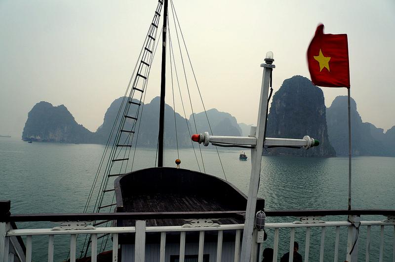 Vietnamese flag along the coast of Hanoi. Source: Rush Murad's flickr photostream, used under a creative commons license.