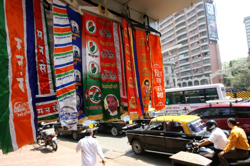 Political party stoles on display in Mumbai. India's state election results will shape the country's political future. Source: Al Jazeera English's flickr photostream, used under a creative commons license.