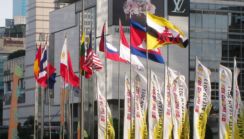 The flags of the ASEAN countries. Source: Wikimedia user Gunawan Kartapranata, used under a creative commons license.
