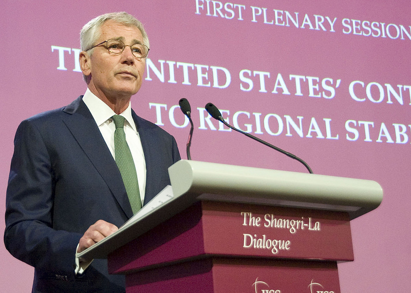 Secretary of Defense Chuck Hagel addresses the audience at the Shangri La Dialogue on May 31, 2014. Source: U.S. Pacific Command's flickr photostream, used under a commons license.